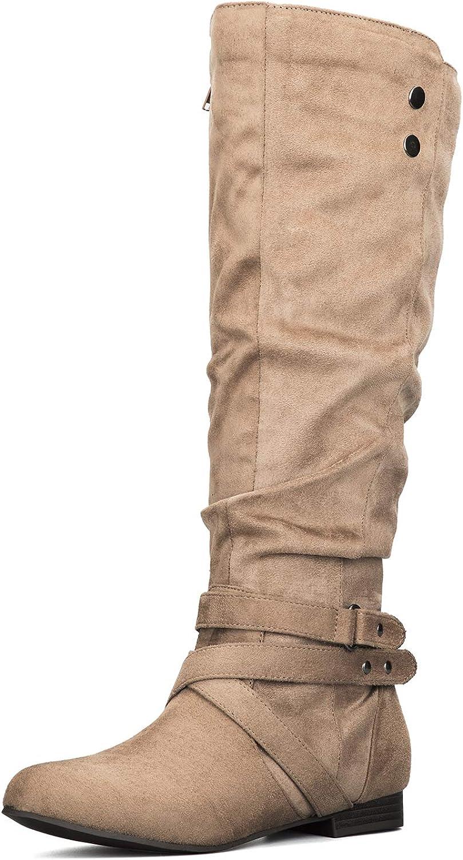 mysoft Women's Knee High Boots High quality new with Warm Flat Side Virginia Beach Mall Winter