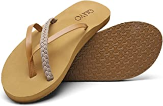 Women Flip Flops Sandals with Arch Support, Yoga Mat Walking Sandals Flip-Flops, Handcrafted Braided Strap Thong Sandals for Travelling/Beach/Pool/Party