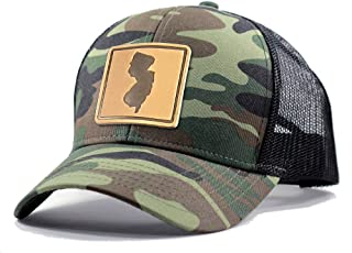 Homeland Tees Men's New Jersey Leather Patch Army Camo Trucker Hat