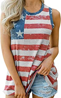 Womens USA Flag Tank Top 4th July Independence Day American Flag Stripe Printed Vest Patriotic Slogan Vintage Shirts Blouse