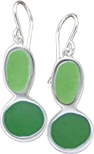 Sterling Silver and Enamel Modern Pebble Earrings in Pea Green