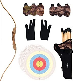 UTeCiA 30 Pcs Complete Archery Set for Kids & Beginners - Safety Rubber Tip Arrow Pack, Handcrafted Wooden Bow, Fabric Qui...
