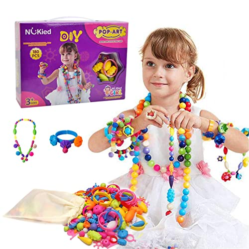 1637975c208 Snap Pop Beads Girls Toy - Happytime 180 Pieces DIY Jewelry Kit Fashion Fun  for Necklace