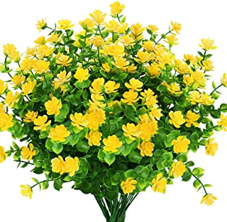 KLEMOO Artificial Flowers Fake Outdoor UV Resistant Boxwood Plants Shrubs 4 Pack, Faux Plastic Greenery for Indoor Outside Hanging Planter Home Office Wedding Farmhouse Decor (Yellow)