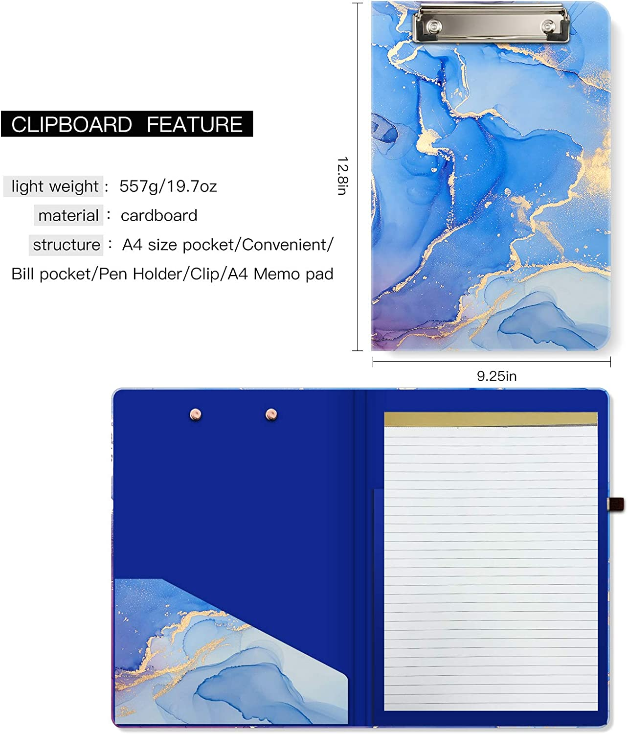 Office Hongri Clipboard Folio with Refillable Lined Notepad and Interior Storage Pocket for Students Man Women Size 12.8 x 9.2,Black Marble Classroom Cute Custom Pattern