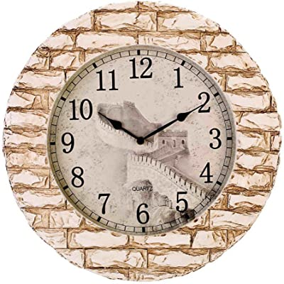 Royal-Wall clock Creative home decor Painted Great Wall clock resin Chinese style mute clock