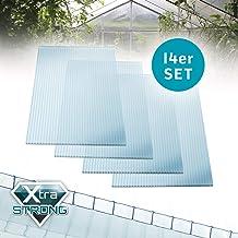 vidaXL 16x Polycarbonatplatte Doppelstegplatten Hohlkammerplatten Polycarbonat Stegplatten Hohlkammerplatte Doppelstegplatte 6mm 140x61cm