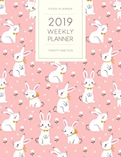 2019 Weekly Planner Twenty Nineteen: Dated With To Do Notes And Inspirational Quotes - Bunny Rabbits (Pastel Pink Diary)