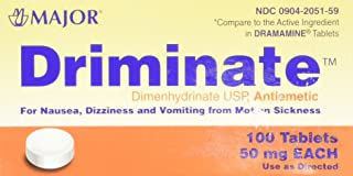 Major Driminate® Dimenhydrinate 50mg 100 Ct for Nausea, Dizziness and Vomiting From Motion Sickness