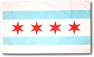 High Supply 3x5 Chicago Flag with Two Brass Grommets, 100% Polyester Fabric, and Double Stitched Edges, Chicago City Flag 3x5, Chicago Illinois Flag, City of Chicago Flag, 3x5 Flag of Chicago