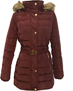 Faux Fur Trim Hooded Belted Down Coat Wine
