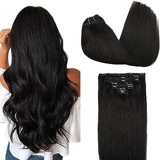 GOO GOO Natural Black Clip in Hair Extensions #1b 22 Inch 120g 7pcs Natural Hair Clip in Extensions 7pcs Straight Remy Rea...