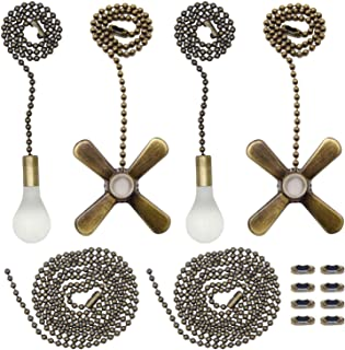 Iceyyyy Bronze Ceiling Fan Pull Chain Set Including 4Pcs Beaded Ball Fan Pull Chain Pendant,  Extra 8Pcs Beaded and Pull Loop Connectors, 2Pcs 35.4 inches Fan Pull Chain Extension