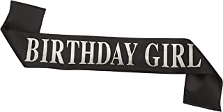Dadam Birthday Sash for Girls Black Satin Birthday Girl Sash with Silver Glitter Lettering Party Favors, Supplies and Decorations