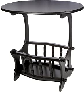 ih casa décor Wooden Oval Table with Magazine Rack, Black