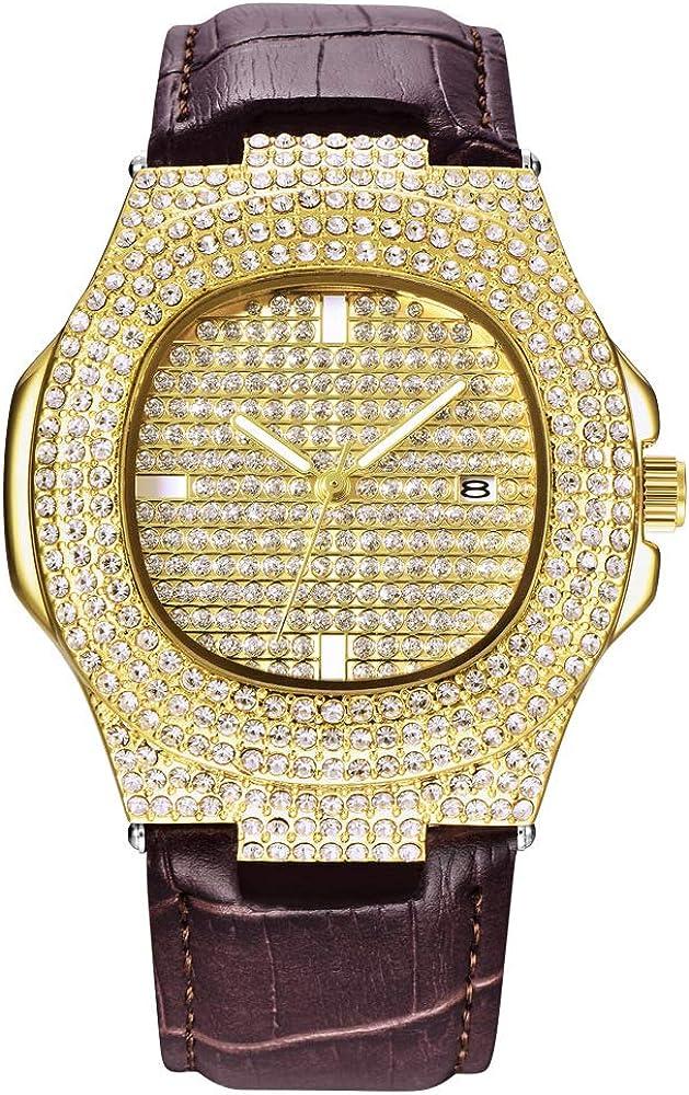 Relojes de Diamantes para Hombre Reloj de Pulsera de Cuero Hip Hop Reloj de Pulsera de Acero Inoxidable Chapado en Oro Plateado Reloj Helado para Mujer