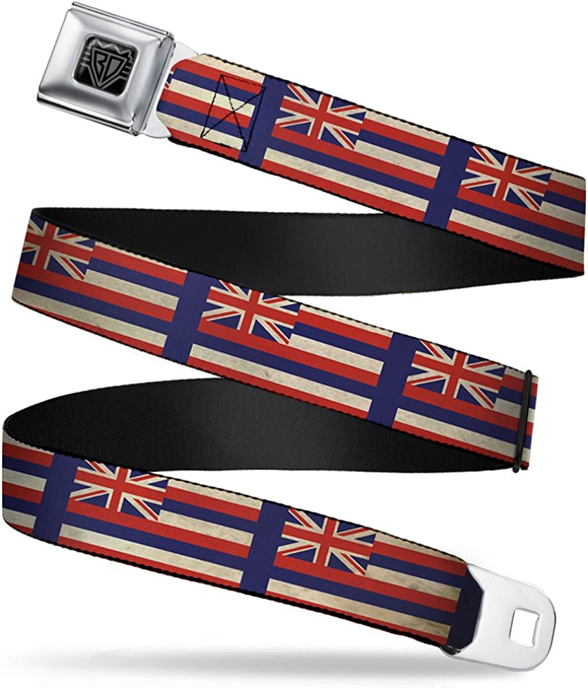 Buckle-Down Seatbelt Belt - Hawaii Wide Flags2 20- Navy 1.0