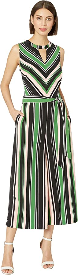 Striped Neck Keyhole Wide-Legged Jumpsuit with Self Tie