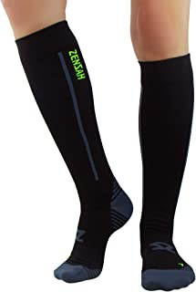 Zensah Featherweight Compression Socks - Ultra-Lightweight Compression Socks - Anti-blister,  Graduated Compression (M,  Black)