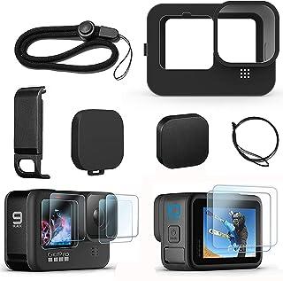 FitStill Siliconen hoes voor Hero 10/Hero 9 Zwart, Batterij Side Cover & Lens Caps & Screen Protectors & Lanyard voor Go P...