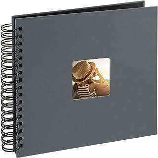 Hama Fine Art Spiral Grey 26x24/50 Fotos (50 páginas Negras álbum con Espiral 28 x 24 cm Compartimento para Insertar Foto) Gris