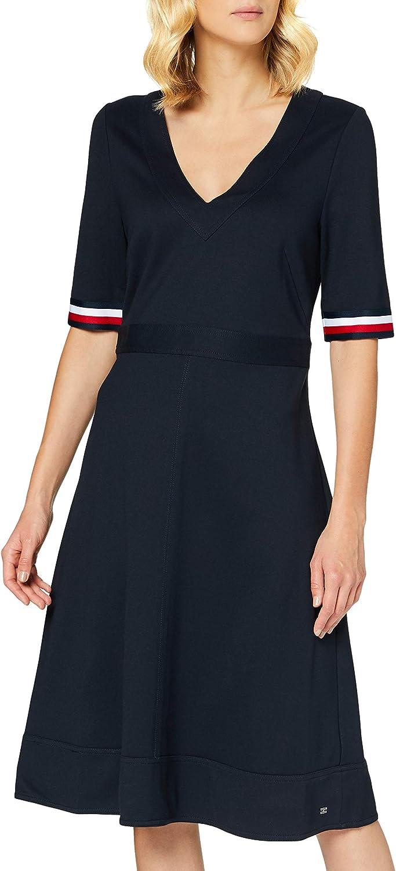 Tommy Hilfiger Damen Punto Milano V Neck Dress Ss Kleid