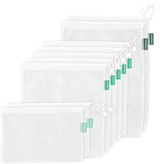 Earthwise Reusable Mesh Produce Bags - SEE-THROUGH - Set of 9 - ULTRA STRONG LIGHTWEIGHT MESH Barcodes scan through 12x17i...