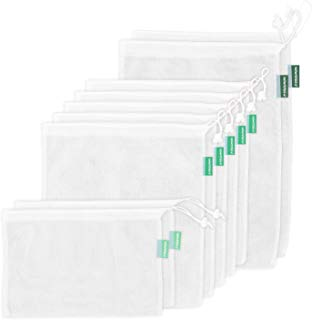 Earthwise Reusable Mesh Produce Bags - See Through - Set of 9 - Ultra Strong Lightweight Mesh Drawstring, Barcodes scan through Grocery Shopping 12x17 inches, 12x14 inches, 12x8 inches (Sheer Mesh)