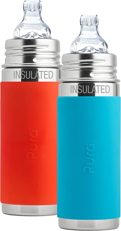 Pura Kiki Stainless Steel Vacuum Insulated Toddler Sippy Bottle 9 Ounce Set Of 2 Orange And Aqua