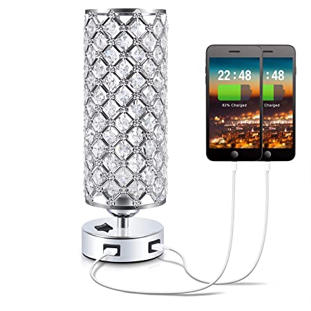 USB Crystal Bedside Lamps with Dual USB Charging Ports, Seealle Modern Crystal Table Lamp, Crystal Table Lamps for Bedroom, Living Room, Study Room and Office(1 Pack)