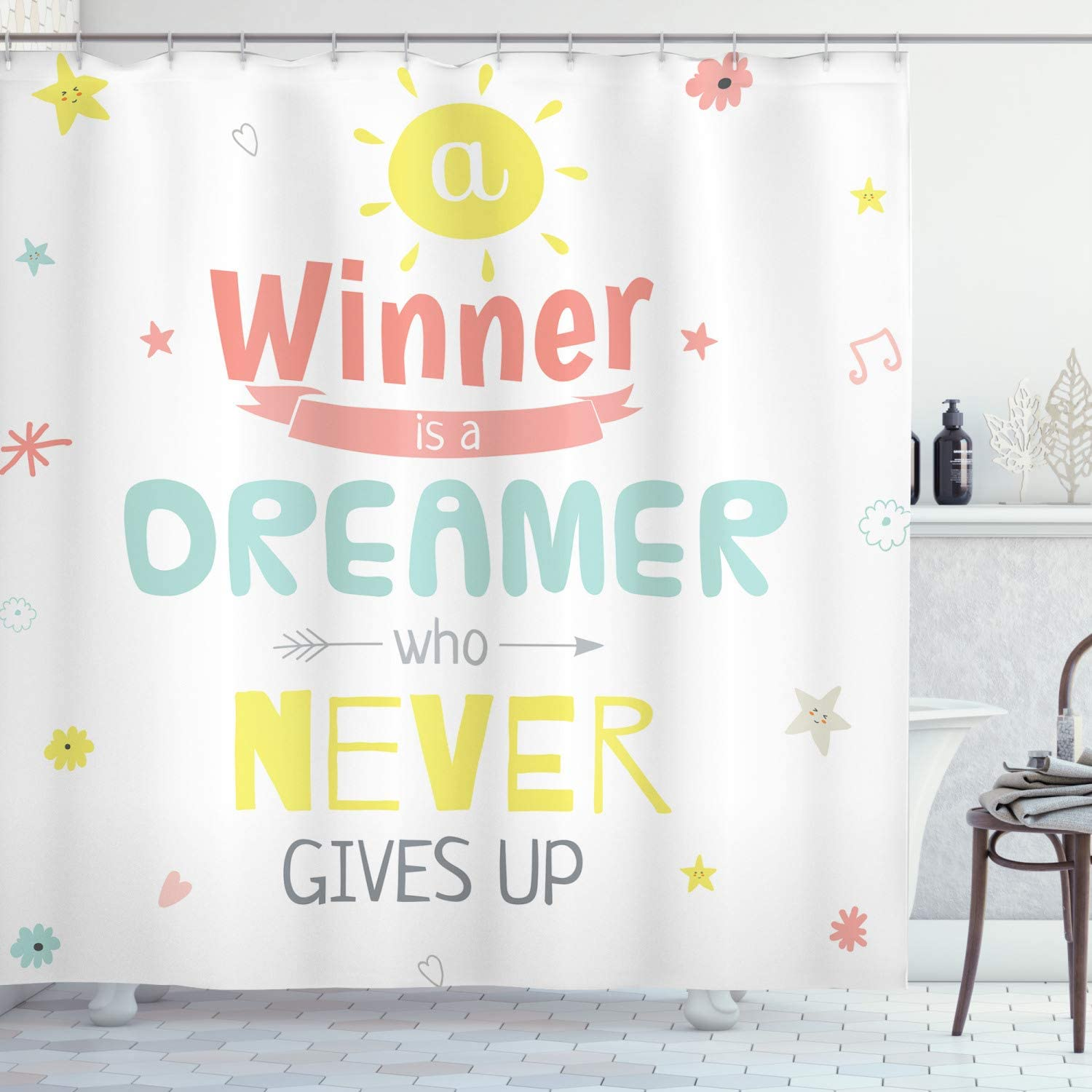 Ambesonne excellence Saying Shower Curtain on Words Positive Ranking TOP6 Motivational