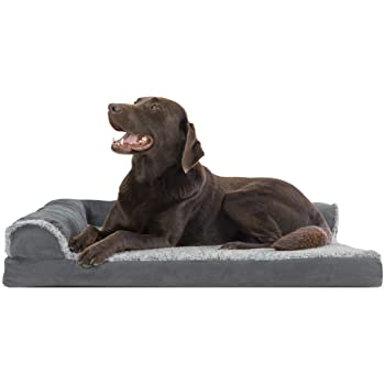 Furhaven Pet Dog Bed - Ergonomic Contour Lounger & Therapeutic Sofa-Style L Shaped ChaiseLiving Room Couch & Pet Bed w/ Removable Cover for Dogs & Cats - Available in Multiple Colors & Styles
