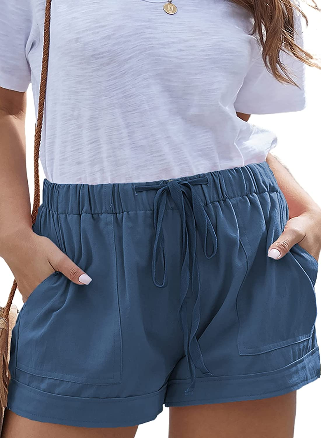 Happy Sailed Womens Plus Size Summer Casual Drawstring Elastic Waist Shorts with Pockets(1X-5X)