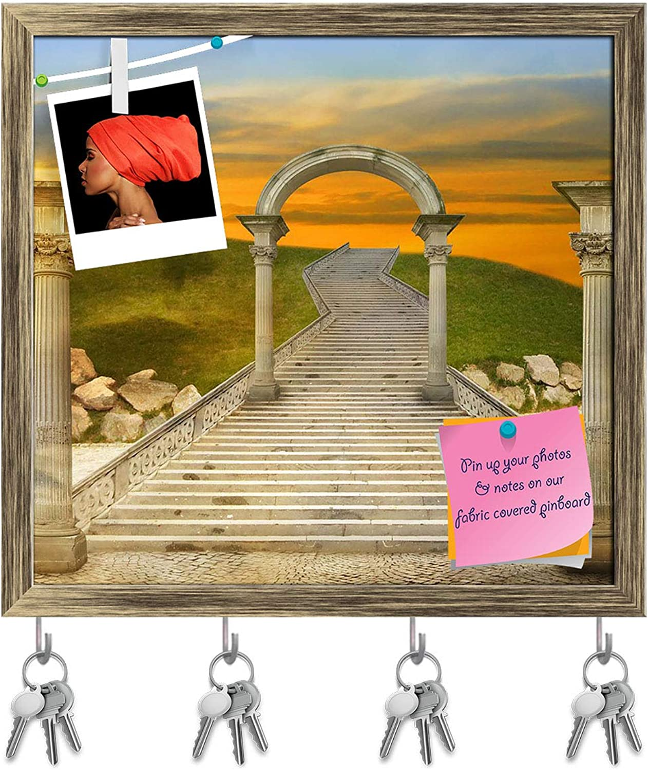 Artzfolio Miraculous Sunset Key Holder Hooks   Notice Pin Board   Antique golden Frame 16.8 X 16Inch