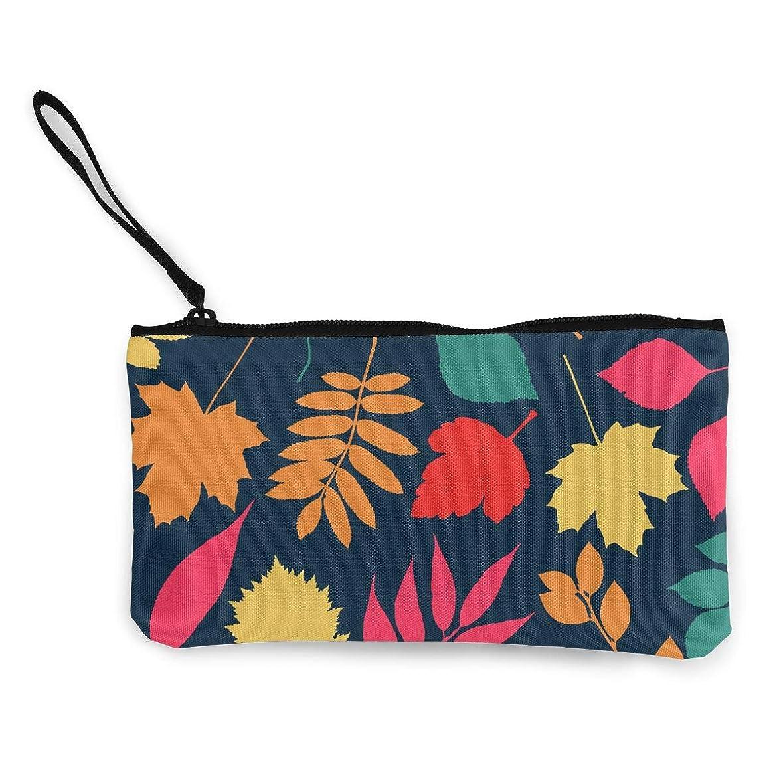 ホラー匹敵しますオーラルErmiCo レディース 小銭入れ キャンバス財布 秋の葉 小遣い財布 財布 鍵 小物 充電器 収納 長財布 ファスナー付き 22×12cm
