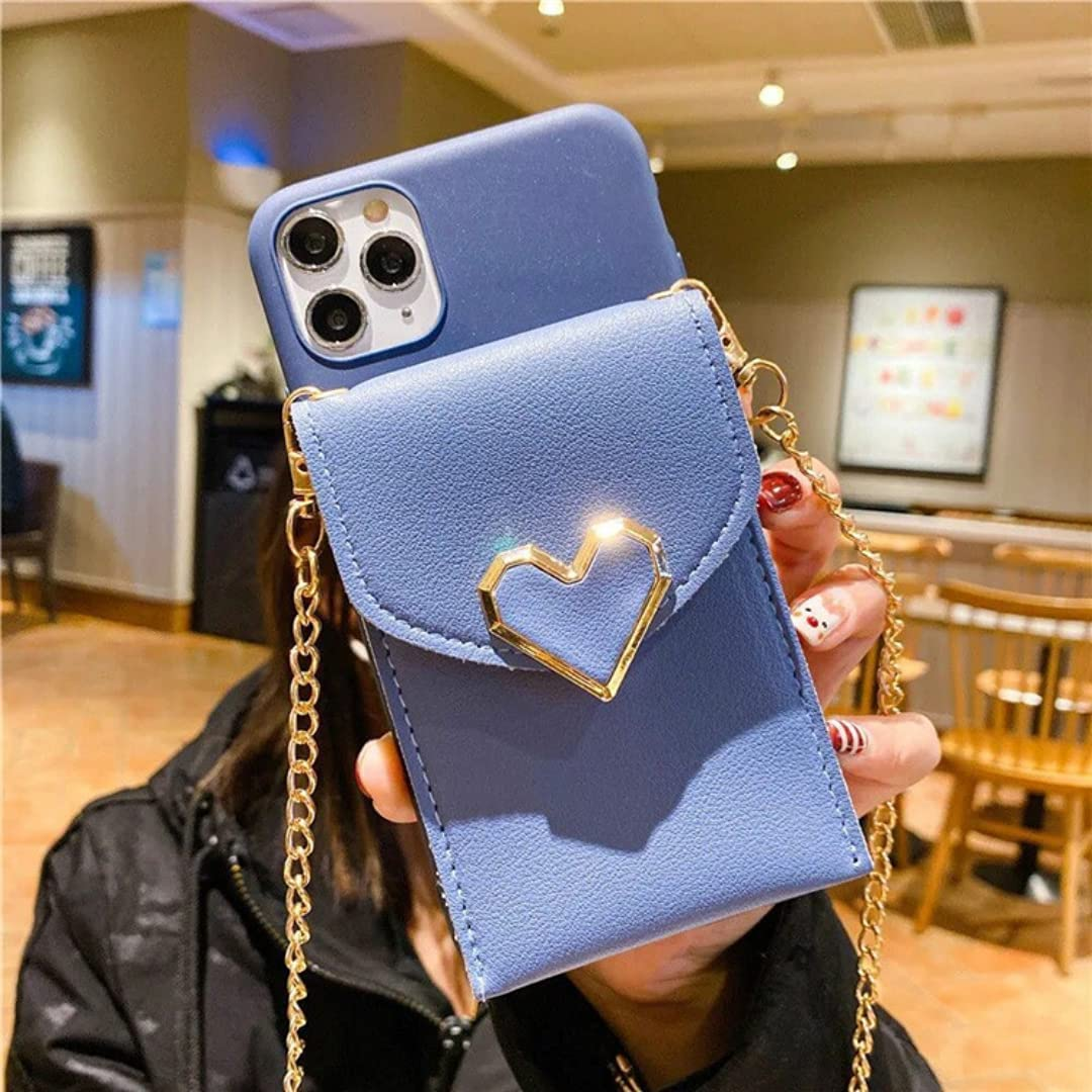 ISYSUII Crossbody Wallet Case for iPhone 12 Pro Max Leather Case Love Heart Pattern Cell Phone Purse with Credit Card Holder Neck Strap Lanyard Protective Case for Women Girls,Blue