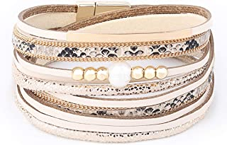Womens Leather Cuff Bracelet - Braided Wrap Bangle Handmade Multi Layer Jewelry with Alloy Magnetic Clasp - Bohemian Style
