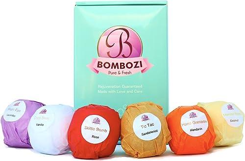 Bath Bombs Gift Set - Bombozi |Luxury Assorted Essential Oils Bath Bomb Kit With Shea Butter - Skin Moisturizer |Moth...