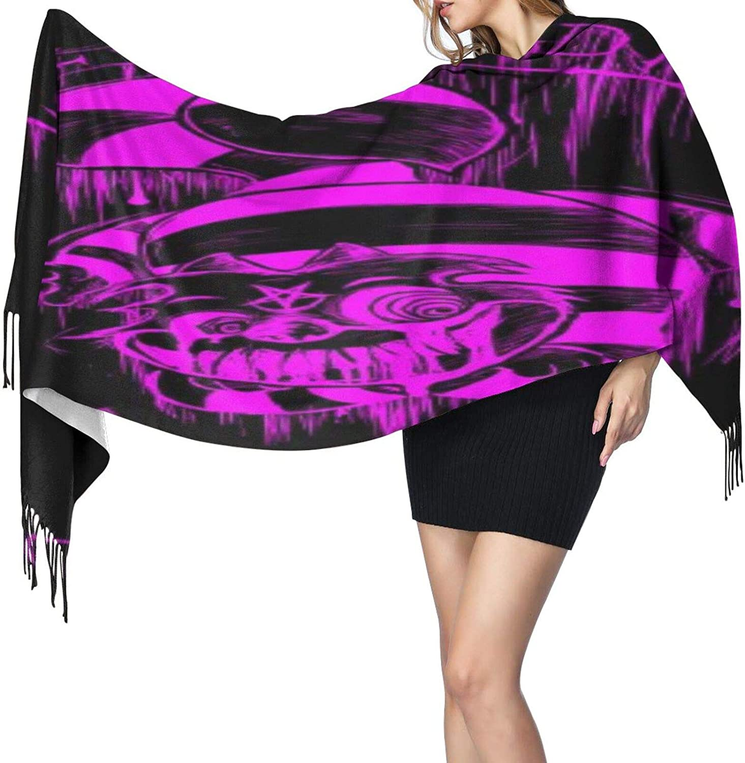 Cashmere fringed scarf we're all mad here winter extra large scarf