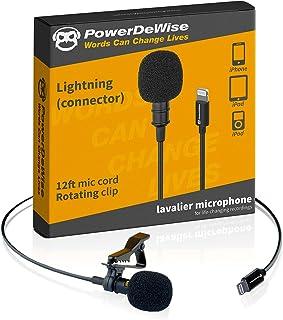 PowerDeWise Micrófono Lavalier, iPhone Mic, compatible con iPhone 7, 7 Plus, 8, 8 Plus, X, XR, XS, XS Max, 11, 11 Pro, 11 ...