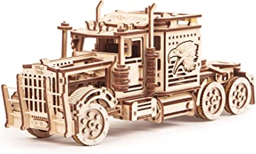 Wood Trick Big Rig Toy Truck, Realistic Semi Truck Wooden Model Kit for Adults and Kids - 3D Wooden Puzzle - Wood Super Truck Toy