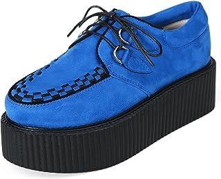 Femme Casual Brogue /à Lacets Cuir Basses Platform Antid/érapant Chaussures de Ville Wedge Sneakers Baskets Mode Noir Blanc Beige Vin Rouge 35-41