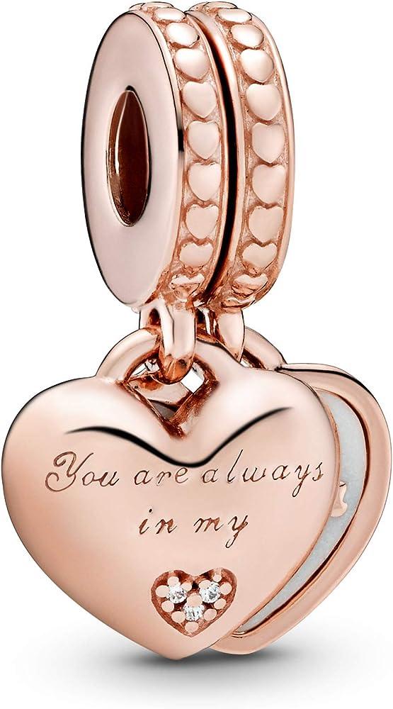 Pandora charm pendente cuori in lega di rame e argento, rifinita con una placcatura in oro rosa 14k 782072EN23