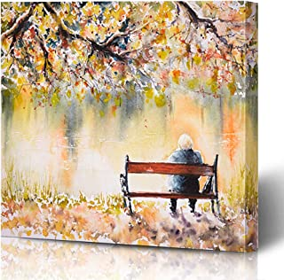 Ahawoso Canvas Prints Wall Art Printing 10x8 Orange Adult Lonely Senior Woman Sitting On Bench Parks Landscape People Red Alone Back Coast Cold Painting Artwork Home Living Room Office Bedroom Dorm