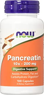 NOW Supplements, Pancreatin 10X 200 mg with naturally occurring Protease (Protein Digesting), Amylase (Carbohydrate Digest...