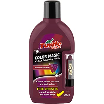 Turtle Wax FG6904 Dark Red Color Magic Plus Colored Car Polish Cleans Shines Restores Scratches Includes Chipstick 500ml