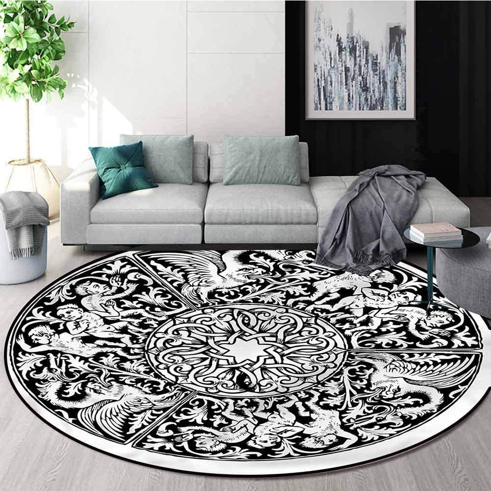 Gothic Art Deco Pattern Non-Slip Round Antiqu Victorian Detroit Mall Area Directly managed store Rug