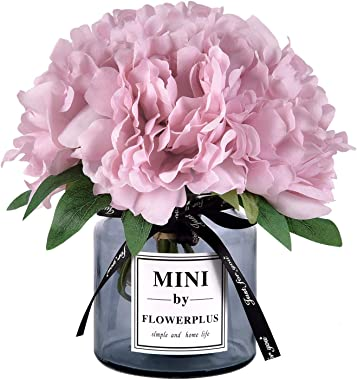 Martine Mall Artificial Peony Flowers with Vase, Faux Peony Flowers Fake Flowers Arrangements for Home Decor