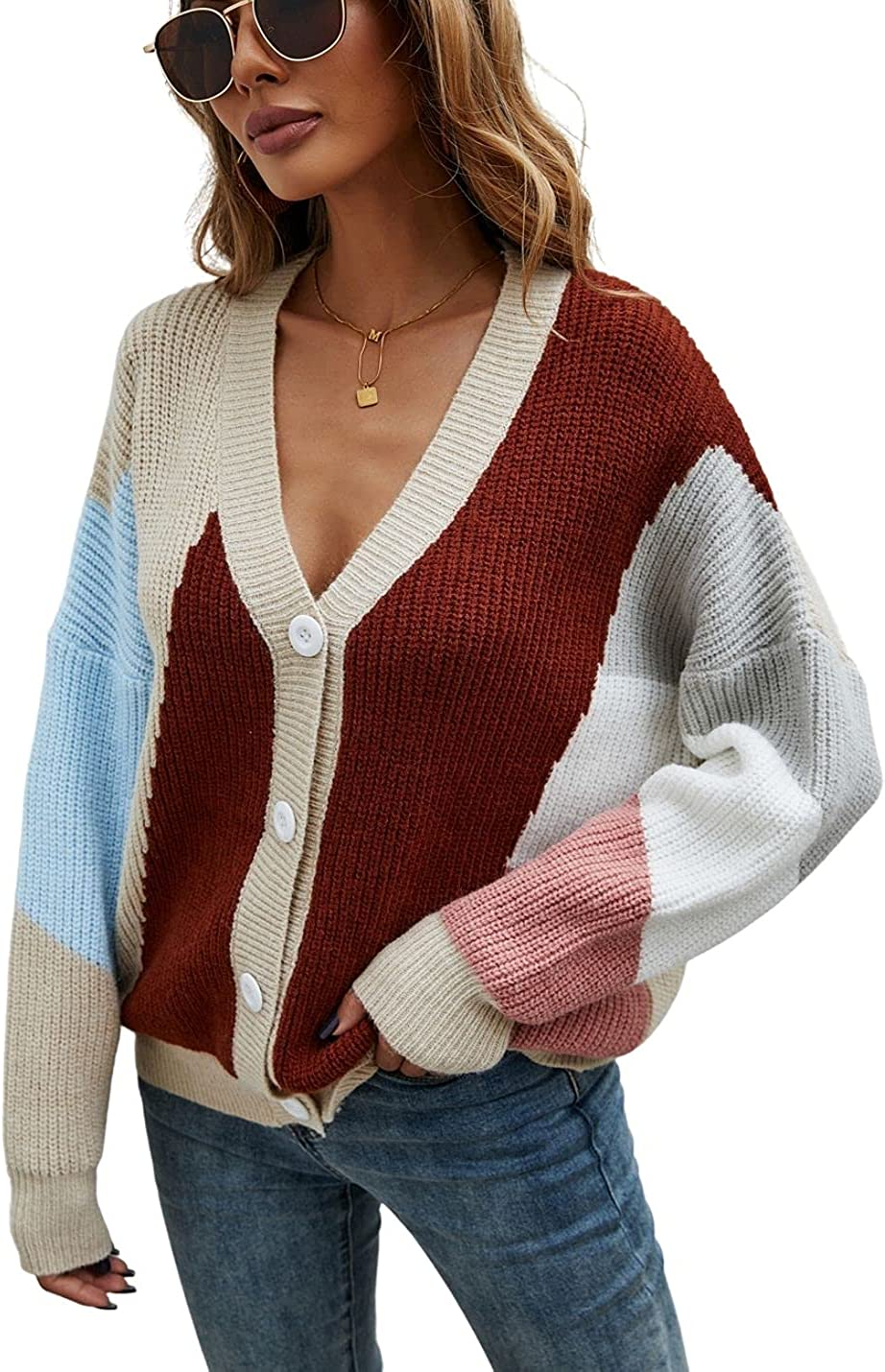 Kwoki Women's Color Block Patchwork Knit Cardigan Casual Button Down V Neck Sweater Shrug