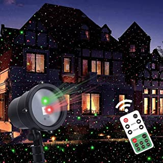 Twinkle Star Christmas Laser Lights Projector with Remote Control, Moving Red Green Star-Like Lights Outdoor Led Landscape Spotlight for Holiday Garden Indoor Christmas Party Decoration